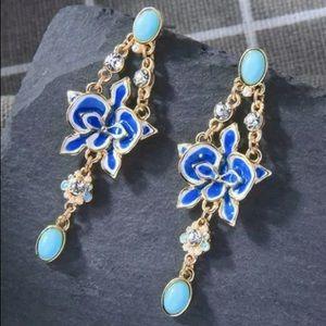 Betsey Johnson Blue and Turquoise Flower Earrings